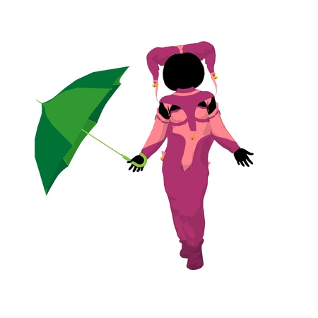 pierrot: Female tween clown with an umbrella on a white background