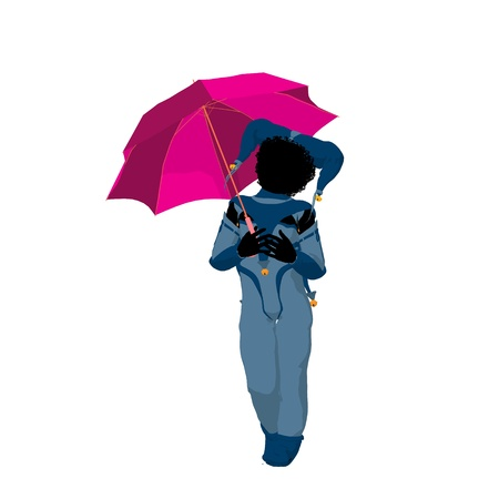 pierrot: Female African American tween clown with an umbrella on a white background Stock Photo