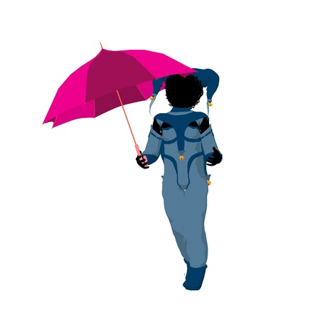 pirouette: Female African American tween clown with an umbrella on a white background Stock Photo