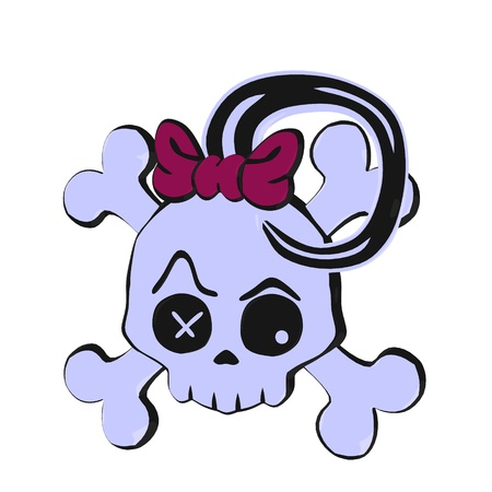cross bone: Skull and crossbones with a bow illustration on a white background