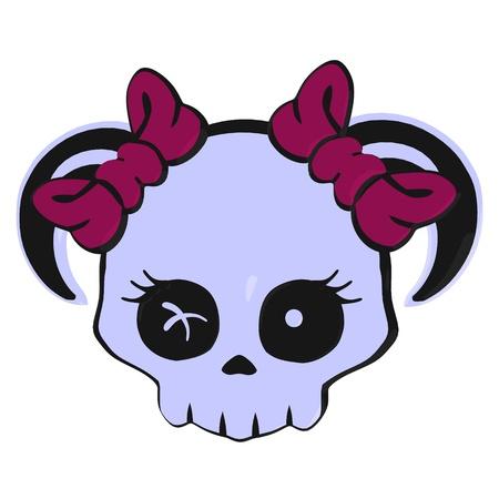 Skull with bows illustration on a white background Zdjęcie Seryjne