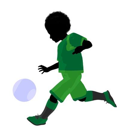 Afrikaans ameircan mannelijk tween de illustratiesilhouet van de voetballerkunst op een witte achtergrond Stockfoto