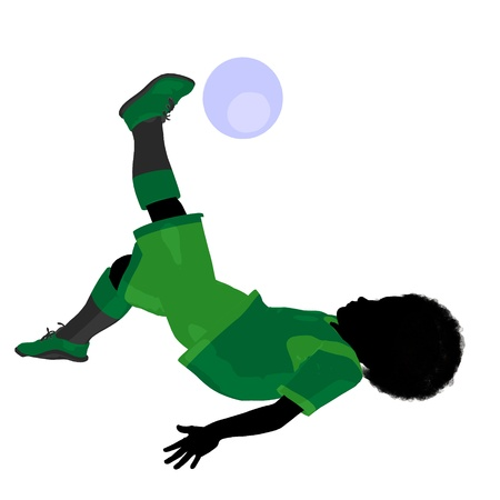 tween boy: African ameircan male tween soccer player art illustration silhouette on a white background