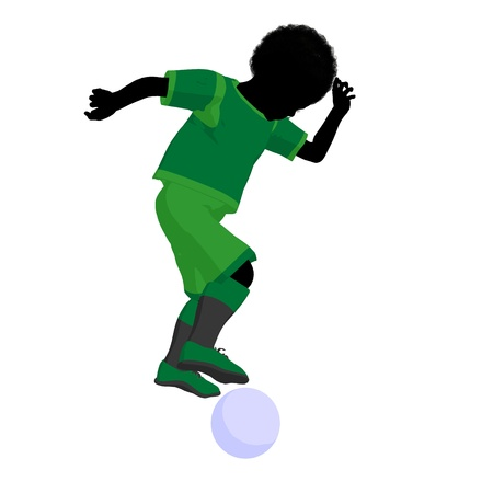 African ameircan male tween soccer player art illustration silhouette on a white background Zdjęcie Seryjne - 9558341