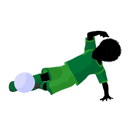African ameircan male tween soccer player art illustration silhouette on a white background Zdjęcie Seryjne - 9558344