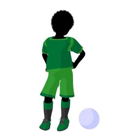 African ameircan male tween soccer player art illustration silhouette on a white background Zdjęcie Seryjne - 9558342