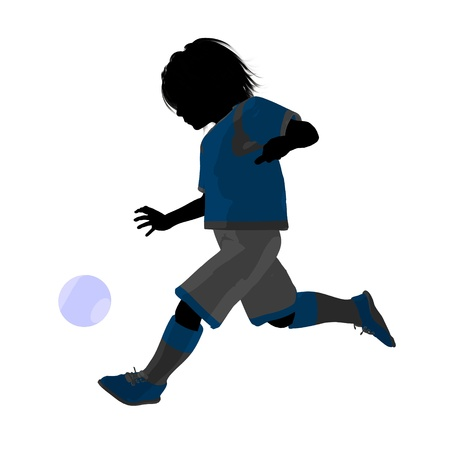Male tween soccer player art illustration silhouette on a white background Zdjęcie Seryjne - 9558336