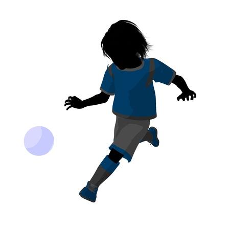 Male tween soccer player art illustration silhouette on a white background illustration