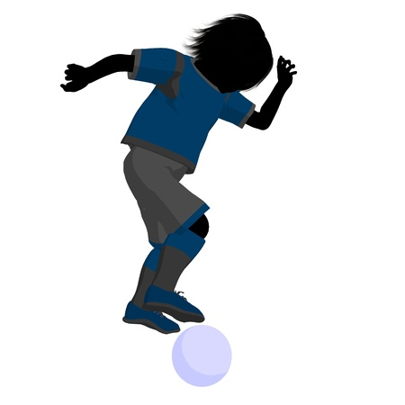 Male tween soccer player art illustration silhouette on a white background