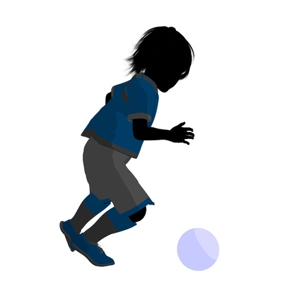 Male tween soccer player art illustration silhouette on a white background Zdjęcie Seryjne - 9558321