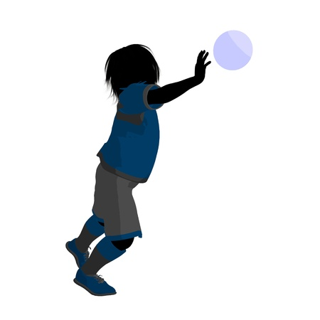 Male tween soccer player art illustration silhouette on a white background Zdjęcie Seryjne - 9558308