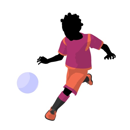 African ameircan female tween soccer player art illustration silhouette on a white background illustration