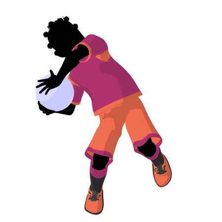 African ameircan female tween soccer player art illustration silhouette on a white background Zdjęcie Seryjne - 9558394