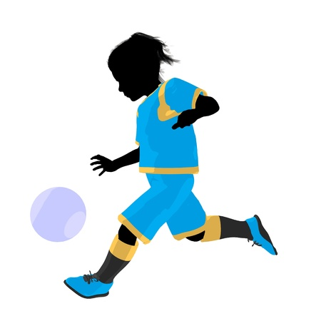 Female tween soccer player art illustration silhouette on a white background Zdjęcie Seryjne - 9558392