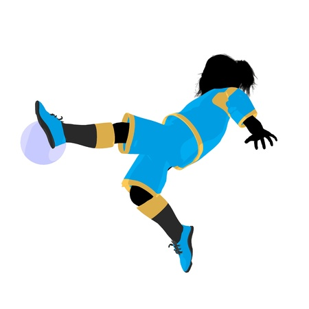 Vrouwelijk tween de illustratiesilhouet van de voetballerkunst op een witte achtergrond Stockfoto