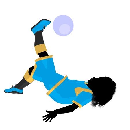 Female tween soccer player art illustration silhouette on a white background Zdjęcie Seryjne - 9558444