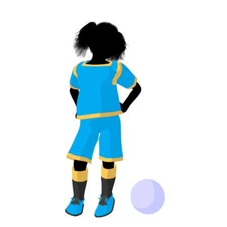 Female tween soccer player art illustration silhouette on a white background