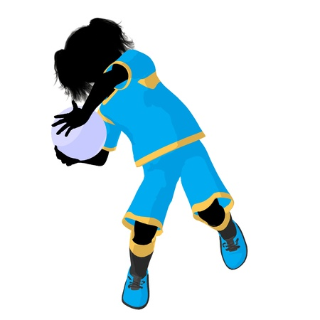 Female tween soccer player art illustration silhouette on a white background Zdjęcie Seryjne - 9558483
