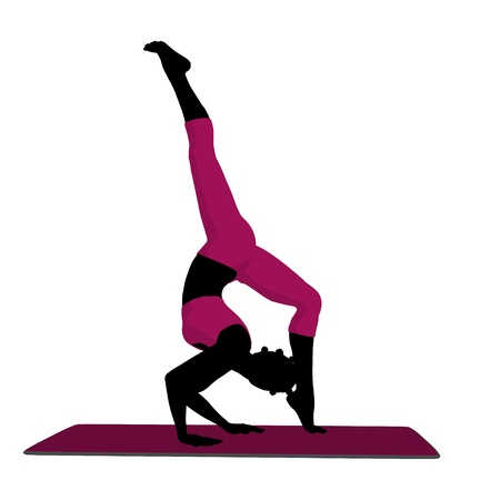 african american silhouette: African american female yoga art illustration silhouette on a white background Stock Photo