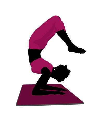 silhoette: African american female yoga art illustration silhouette on a white background Stock Photo
