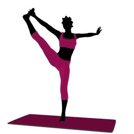 African american female yoga art illustration silhouette on a white background illustration