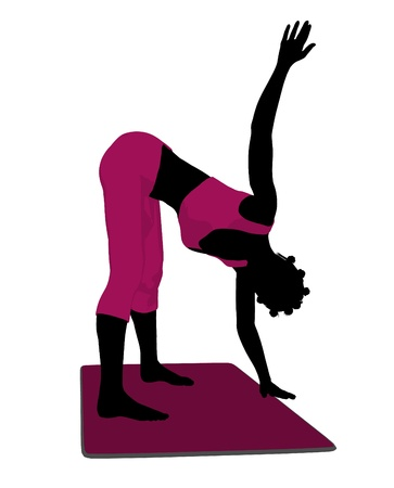 African american female yoga art illustration silhouette on a white background Banco de Imagens