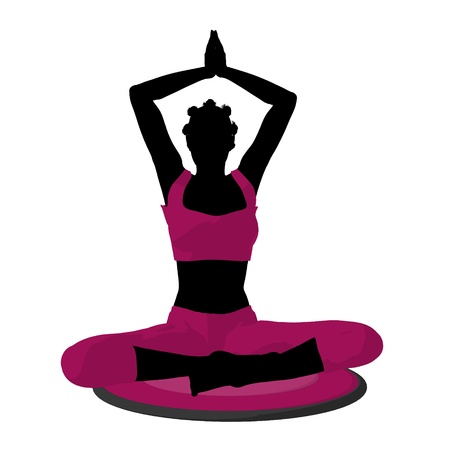 African american female yoga art illustration silhouette on a white background Imagens