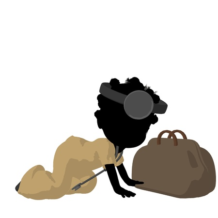 Little african american doctor girl next to a doctor bag on a white background