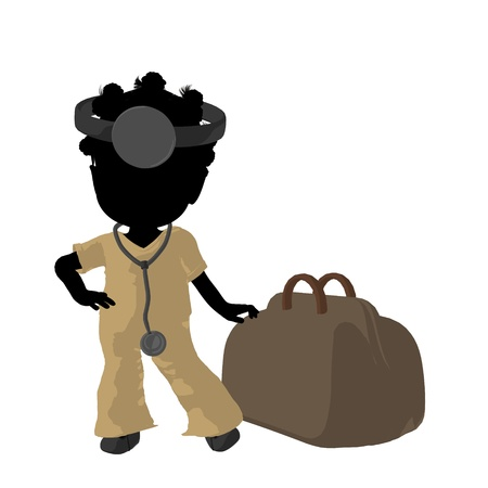 Little african american doctor girl next to a doctor bag on a white background Stock Photo - 9871620