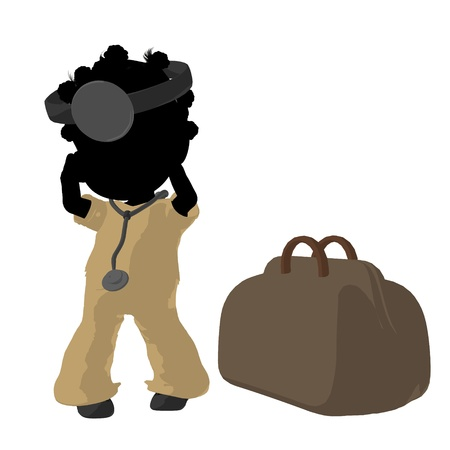 Little african american doctor girl next to a doctor bag on a white background photo