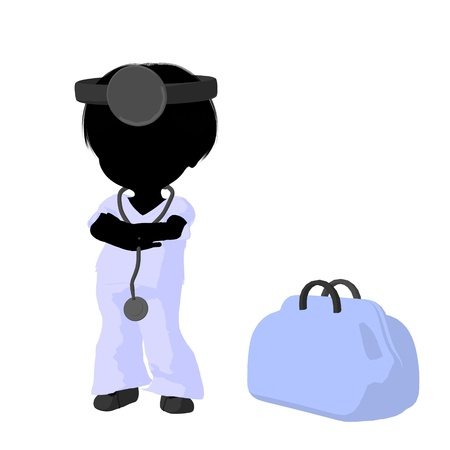 Little doctor girl next to a doctor bag on a white background photo