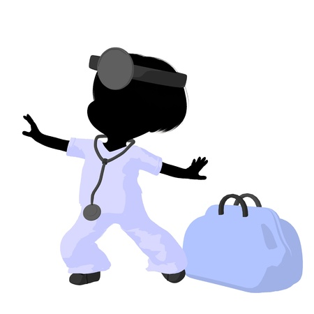general practitioner: Little doctor girl next to a doctor bag on a white background
