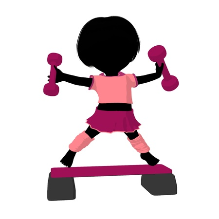 Little exercise girl exercising on a white background Imagens