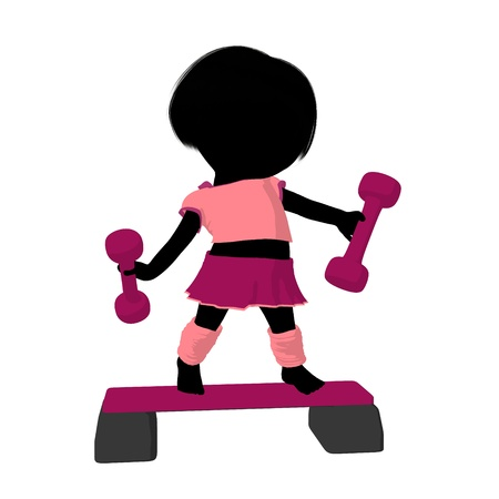 aerobics class: Little exercise girl exercising on a white background Stock Photo