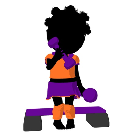 aerobics class: Little african american exercise girl exercising on a white background