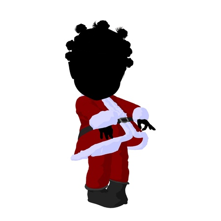 Little african american santa girl on a white background photo