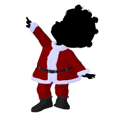 children silhouettes: Little african american santa girl on a white background
