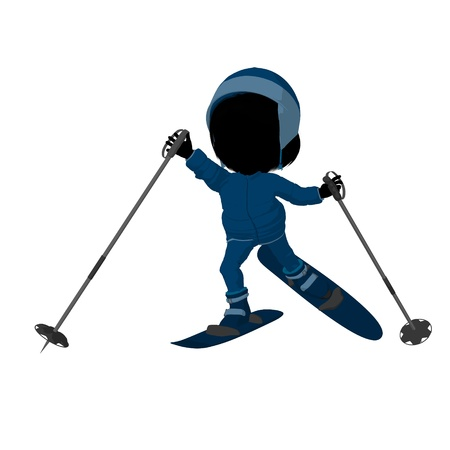 Little skier girl on a white background