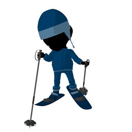 Piccola ragazza dello sciatore su una priorità bassa bianca Archivio Fotografico - 9871691