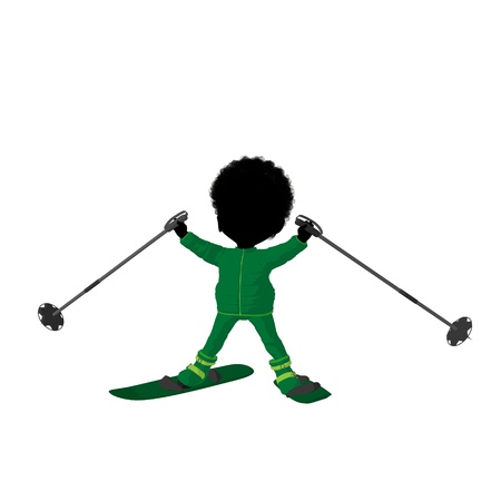 Little african american skier girl on a white background