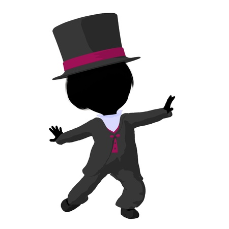 Little top hat girl on a white background photo