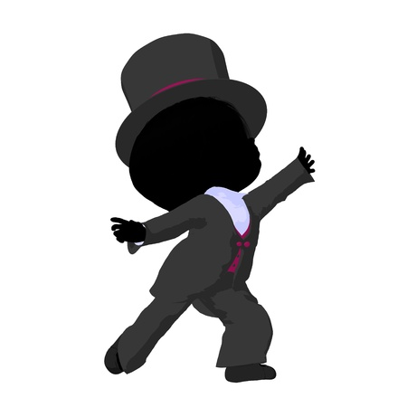 Little top hat girl on a white background
