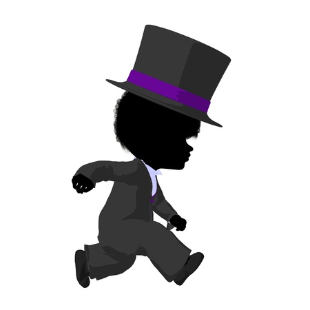 Little african ameircan top hat girl on a white background photo