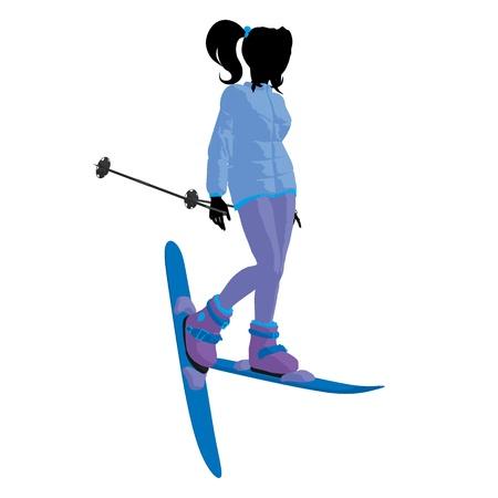 Skier girl on a white background Stock fotó