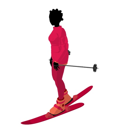 African american skier girl on a white background
