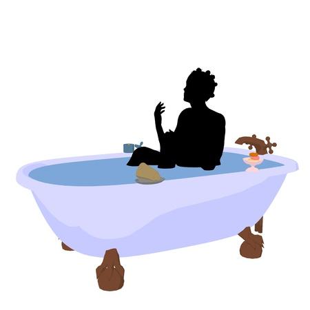African American vrouw in een badkuip op een witte achtergrond