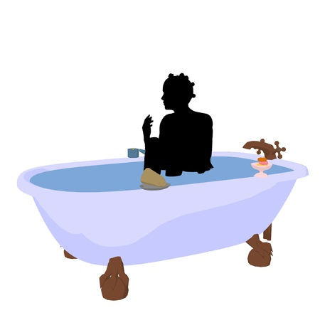 African american woman in a bathtub on a white background Stok Fotoğraf