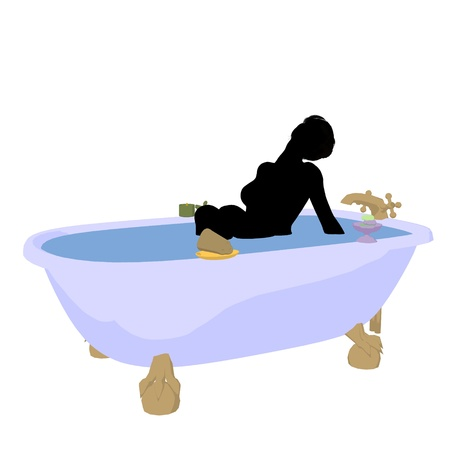 Woman in a bathtub on a white background