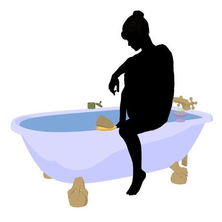 soak: Woman in a bathtub on a white background