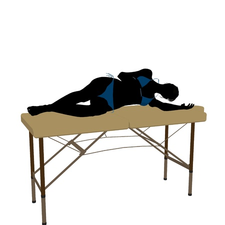 Woman on top of a massage table on a white background Stock Photo - 9871805